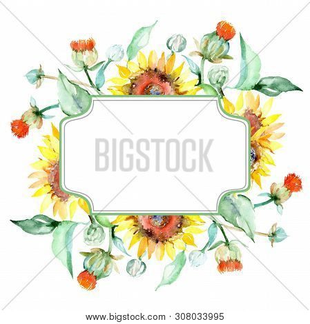Yellow Sunflower Floral Botanical Flowers. Watercolor Background Illustration Set. Frame Border Orna