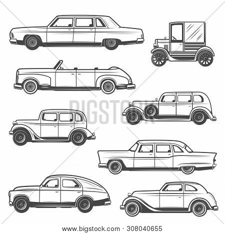 Retro Car Vector Icons Of Vintage Auto And Old Motor Vehicles Design. Sedan, Cabriolet And Hatchback