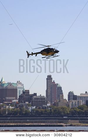 New York - Oct 8: Helicopters Take Off And Land Along The East River In Lower Manhattan On October