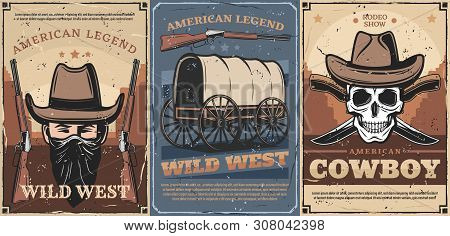 Wild West American Cowboy And Skull Vector Design With Vintage Hats, Guns And Knives, Old Wagon Cart