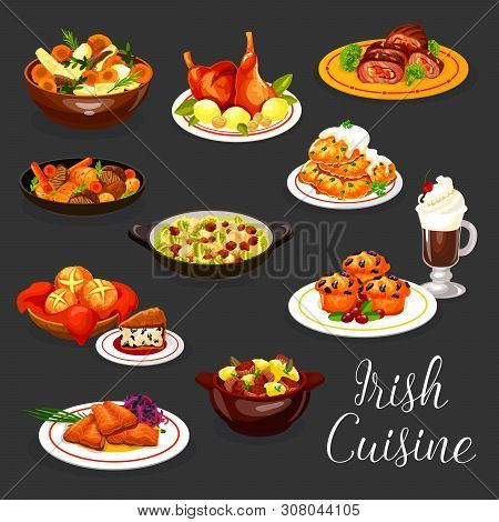Irish Cuisine Vector Fish And Meat With Coffee And Dessert. Salmon With Red Cabbage Salad, Potato Pa