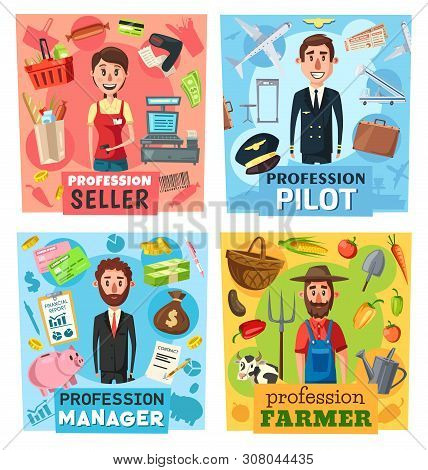 Farmer, Seller, Pilot And Manager Professions Vector Design With Businessman Or Financial Advisor, C