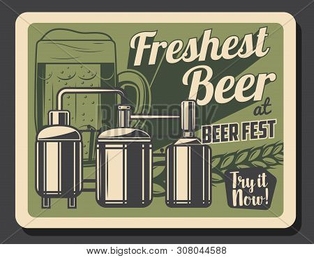 Craft Beer Brewery Retro Poster With Glass Of Alcohol Beverage And Wheat Vector Design. Beer Product