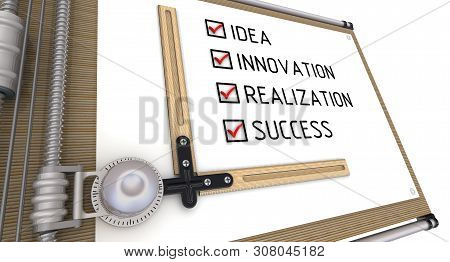 Idea, Innovation, Realization, Success. List With The Check Marks On Drawing Board. Business Strateg