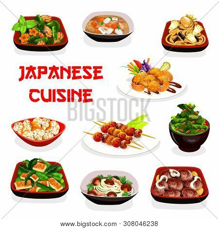 Japanese Cuisine Vector Design Of Grilled Fish And Vegetables On Skewers. Shrimp Salad And Chicken S
