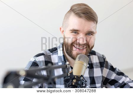 Podcasting, , Dj And Broadcast Concept - - Presenter Or Host In Radio Station Hosting Show For Radio