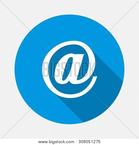 Vector Icon Dog Email On Blue Background. Flat Image Message With Long Shadow. Layers Grouped For Ea