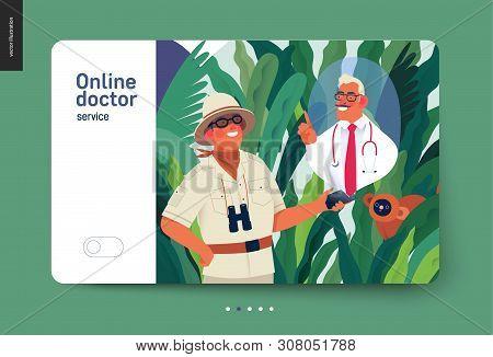 Medical Insurance - Online Doctor Service -modern Flat Vector Concept Digital Illustration - A Trave