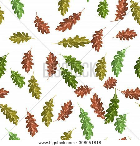 Oak Green And Brown Nice Leaf Seamless Pattern Autumn Background For Decoration And Interior