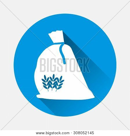 Bag Of Flour Vector Icon. Cereal Wheat, Oats, Rye With A Flat Shadow. Layers Grouped For Easy Editin