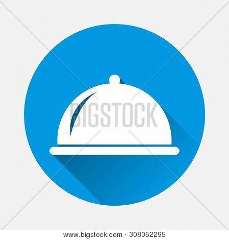 Hot Food In Restaurant Vector Icon. Symbol Of A Dinner In A Restaurant With A Flat Shadow.