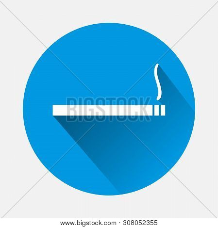 Cigarette With Smoke Vector Icon. Symbol Of A Place For Smoking, Smoke Break With A Flat Shadow. Lay
