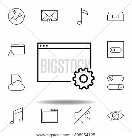 App Settings Window Outline Icon. Detailed Set Of Unigrid Multimedia Illustrations Icons. Can Be Use