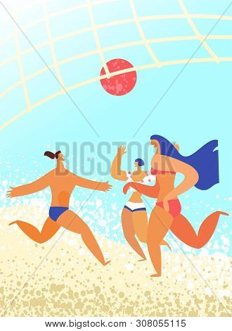 Group Of Friends Playing Beach Volley. Summer Holidays, Active Pastime, Sports And Fitness