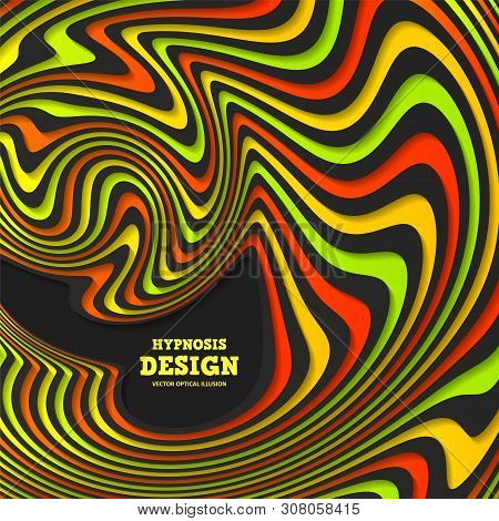 Optical Illusion, Abstract Colorful Background. Hypnosis Twisted Spiral Design Concept For Hypnosis,
