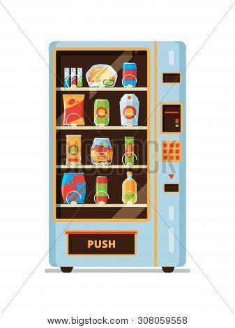 Vending Machine. Snack Crackers Junk Food Soda Drinks Saling In Vending Automat Vector Cartoon Colle