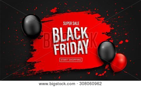 Black Friday Sale Poster. Seasonal discount banner with balloons and red grunge frame on black background. Holiday design template for advertising shopping, closeout on thanksgiving day