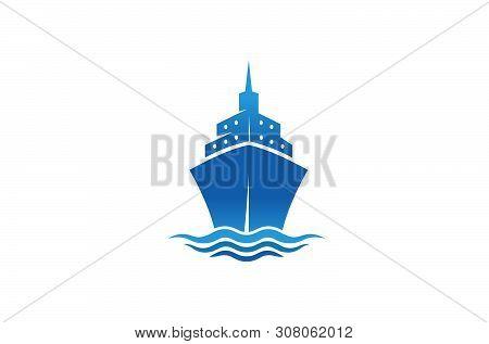 Creative Blue Summer Steamboat Logo Design Vector Symbol Illustration
