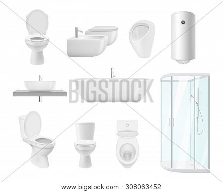 Bathroom Collection. Washroom Toilet Sink Modern White Objects Of Bathroom Vector Realistic Pictures