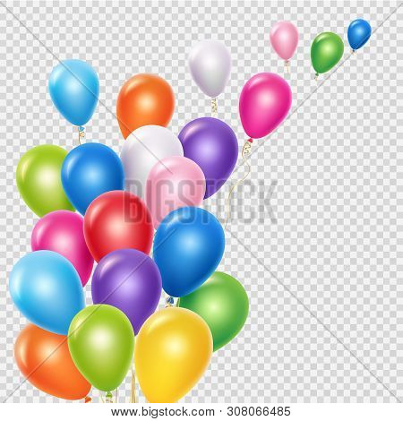 Realistic Balloons Vector Background Template. Flying Colorful Balloons Isolated On Transparent Back