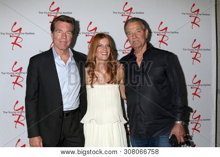 LOS ANGELES - JUN 23:  Peter Bergman, Michelle Stafford, Eric Braeden at the Young and The Restless Fan Club Luncheon at the Marriott Burbank Convention Center on June 23, 2019 in Burbank, CA