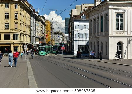 Basel, Switzerland - April 17, 2019. View From The Bridge Mittlere Bruecke To The Greifengasse Stree