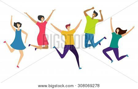 International Happy People Characters Isolated On White Background. Vector Jumping And Flying People