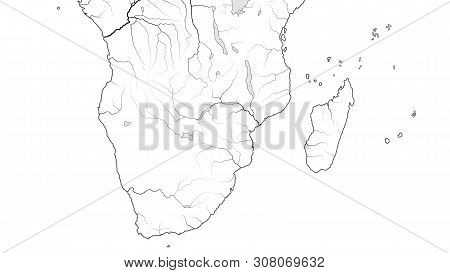 World Map Of Africa Coastline And Madagascar: South Africa, Rhodesia, Namibia, Kenya, Tanzania, Zanz