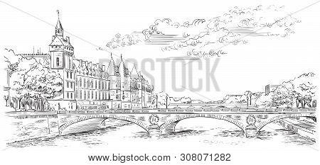 Vector Hand Drawing Illustration Of The Castle Of Conciergerie (paris, France). Landmark Of Paris. P