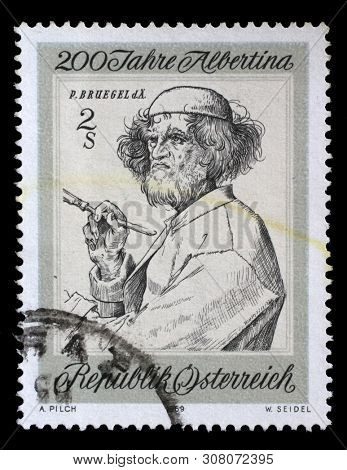 ZAGREB, CROATIA - JULY 03, 2014: A stamp issued in the Austria shows the Anniversary of the Albertina Graphics Collection, Artist and Connoisseur by Pieter Breugel the Elder, circa 1969.