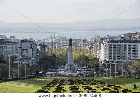 Lisbon, Portugal. April 2018.  Panoramic View Of The Eduardo Vii Park