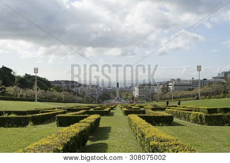Lisbon, Portugal. April 2018.panoramic View Of The Eduardo Vii Park