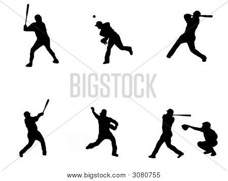Baseball Collage Silhouette