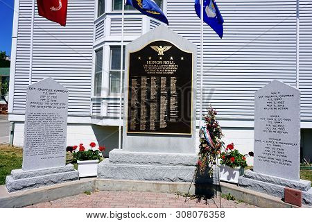 Mackinac Island, Michigan / United States - June 11, 2018: The Mackinac Island Veterans Memorial, In