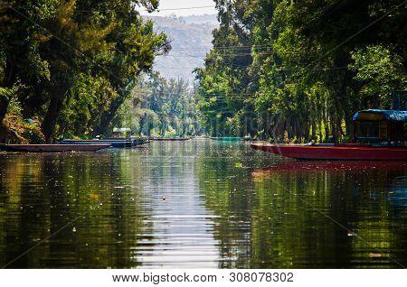 Mexico City, Mexico - April 13, 2012. Water Canal In Quarter Xochimilco