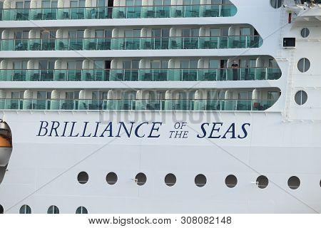 Ijmuiden, The Netherlands - June 24th 2019: Brilliance Of The Seas Leaving Ijmuiden Sea Lock. Brilli