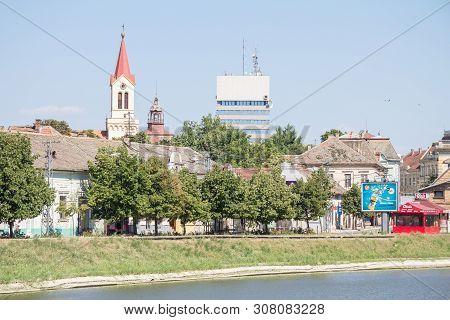 Zrenjanin, Serbia - July 11, 2015: Panorama Of Zrenjanin, With Katedrala Svetog Ivana Nepomuka Churc