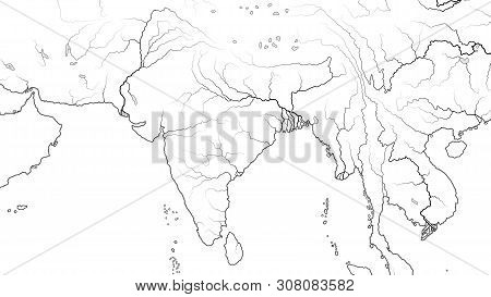 World Map Of South Asia Region And India Subcontinent: Pakistan, India, Himalayas, Tibet, Bengal, Ce