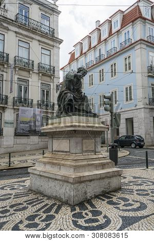Lisbon, Portugal, April 2018. The Statue Of The Poet  António Ribeiro In Largo Do Chiado