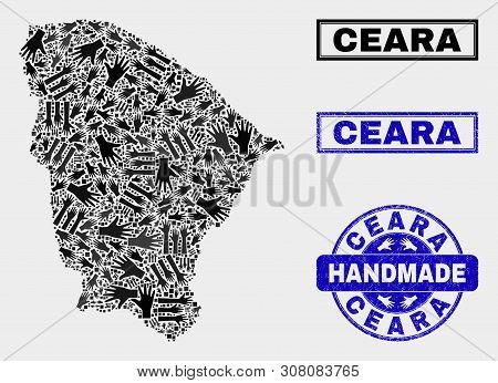 Vector Handmade Combination Of Ceara State Map And Scratched Stamp Seals. Mosaic Ceara State Map Is
