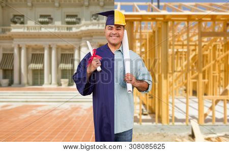 Split Screen Male Hispanic Graduate In Cap and Gown to Engineer in Hard Hat Concept.