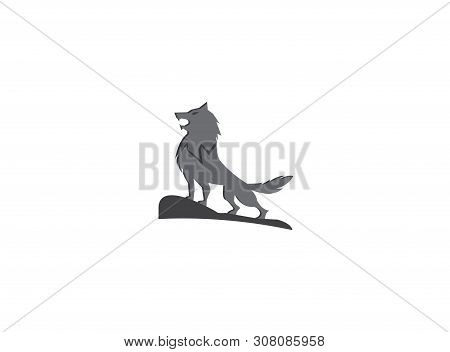 Wolf Howling On The Top Mountain For Logo Illustration Design