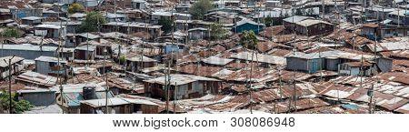 High angle panoramic view of the Kibera slum in Nairobi, Kenya.
