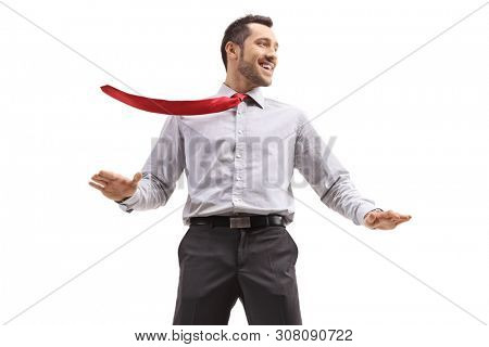 Cheerful young businessman ith his tie blown by wind isolated on white background poster