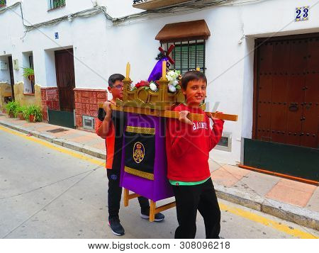 Two Village Boys Making Their Own Easter Procession