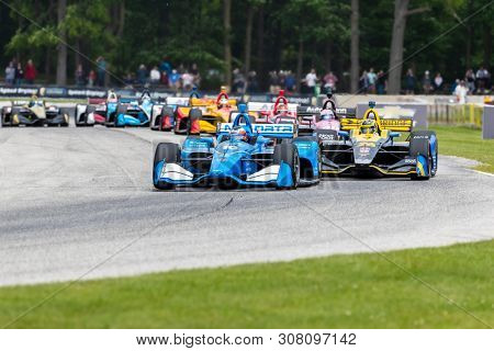 June 23, 2019 - Elkhart Lake, Wisconsin, USA: FELIX ROSENQVIST (10) of Sweden races through the turns during the  race for the REV Group Grand Prix at Road America in Elkhart Lake, Wisconsin.