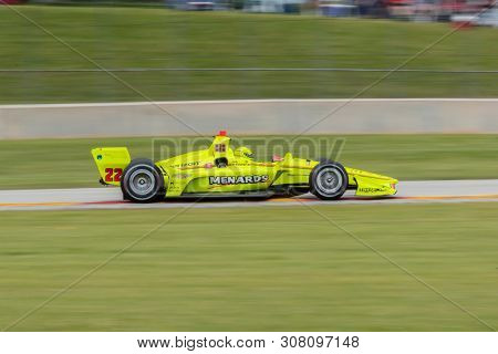 June 23, 2019 - Elkhart Lake, Wisconsin, USA: SIMON PAGENAUD (22) of France races through the turns during the  race for the REV Group Grand Prix at Road America in Elkhart Lake, Wisconsin.