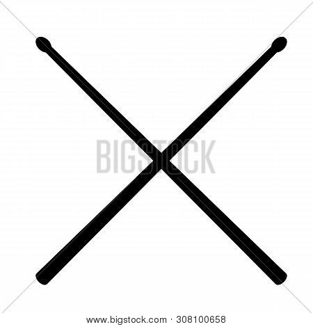Drum Sticks Icon On White Background. Flat Style. Drumsticks Icon For Your Web Site Design, Logo, Ap