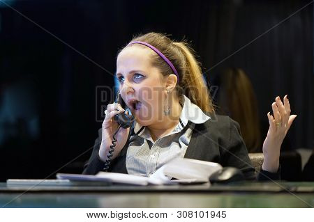 Woman In Stress In Front Of Computer