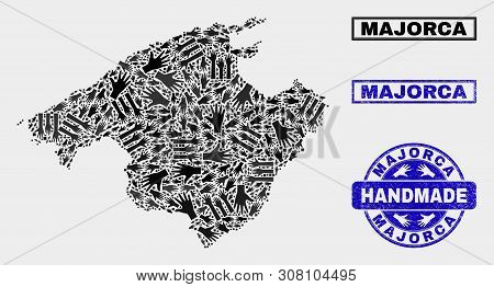 Vector Handmade Combination Of Majorca Map And Dirty Stamp Seals. Mosaic Majorca Map Is Made Of Rand